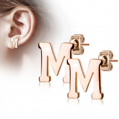 "Steel earrings in a copper colour – letter of the alphabet ""M"", studs"