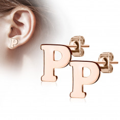 "Steel earrings in a copper colour – letter of the alphabet ""P"", studs"