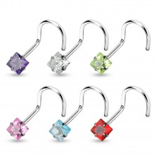 Curved nose stud with zircon square