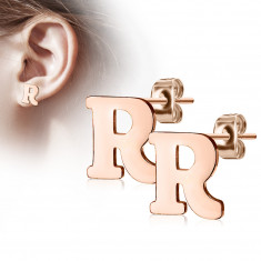 "Steel earrings in a copper colour – letter of the alphabet ""R"", studs"