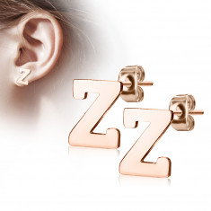 "Steel earrings in a copper colour – letter of the alphabet ""Z"", studs"