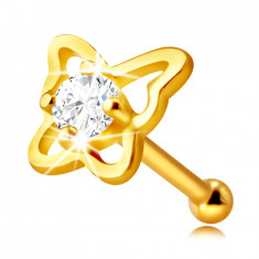 Golden nose piercing in 14K gold – butterfly contour with a round clear zircon, 2 mm