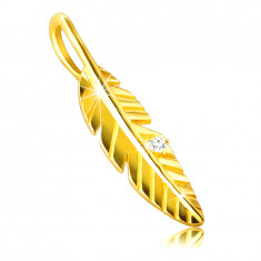 Pendant made of 14K gold – shiny engraved feather, zircon