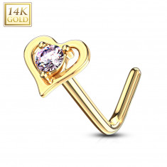 Curved nose piercing made of 14K yellow gold – heart-shaped contour with a pink zircon