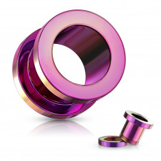 Ear tunnel made of 316L steel – shiny pink surface, PVD coating technology