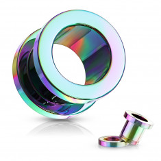 Ear tunnel made of 316L steel – shiny rainbow coloured surface, PVD coating technology