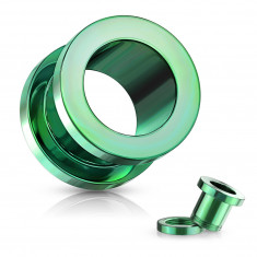 Ear tunnel made of 316L steel – shiny green coloured surface, PVD coating technology