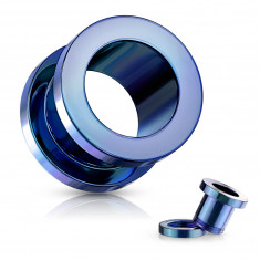 Ear tunnel made of 316L steel – shiny blue coloured surface, PVD coating technology