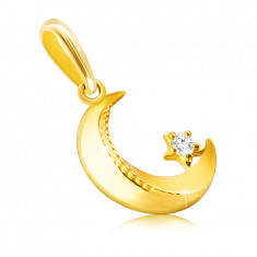 14K Golden pendant – moon with a bevelled edges, knurling, tiny round zircon