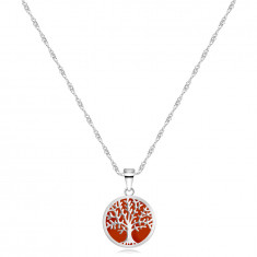 925 Silver necklace – pendant in the shape of a ring, tree of life, red background