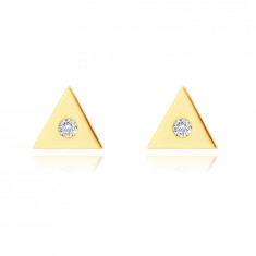 14K Golden earrings – small triangle with a clear zircon in the centre, studs