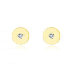 Earrings made of 14K yellow gold – flat circle with a clear zircon, shiny and smooth surface