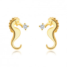 585 Golden stud earrings – seahorse motif, glittery round zircon