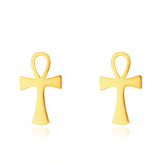 14K Golden earrings – Anch, Nile cross pattern, studs