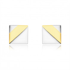 Earrings made of combined 14K gold – shiny square, two triangles in white gold
