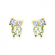Earrings in 14K gold – stones in different sizes, olivine, blue topaz