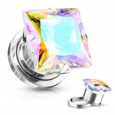 Ear plug made of stainless steel – square-shaped zircon, rainbow reflections, PVD coating technology