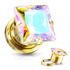Ear plug made of stainless steel – square-shaped zircon with rainbow reflections, golden colour. PVD