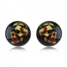 Earrings made of stainless steel – skull on a black background, clear glaze, studs