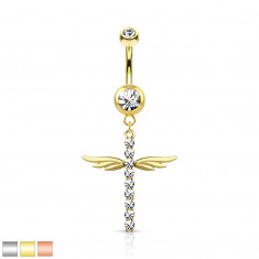 316L Steel belly button piercing, Rhodium plated – winged cross, round clear zircons, 1,6 mm