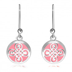 Dangling earrings in 925 silver – smooth ring, Celtic pattern on a pink background