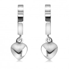 925 Silver hinged snap earrings – mirror-polished hoops with a heart, smooth surface