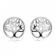 925 Silver earrings – tree of life in a ring with a cut-out, shiny surface