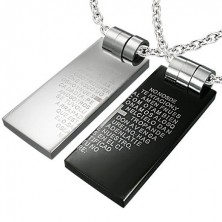 Double pendant made of steel - prayer in heart