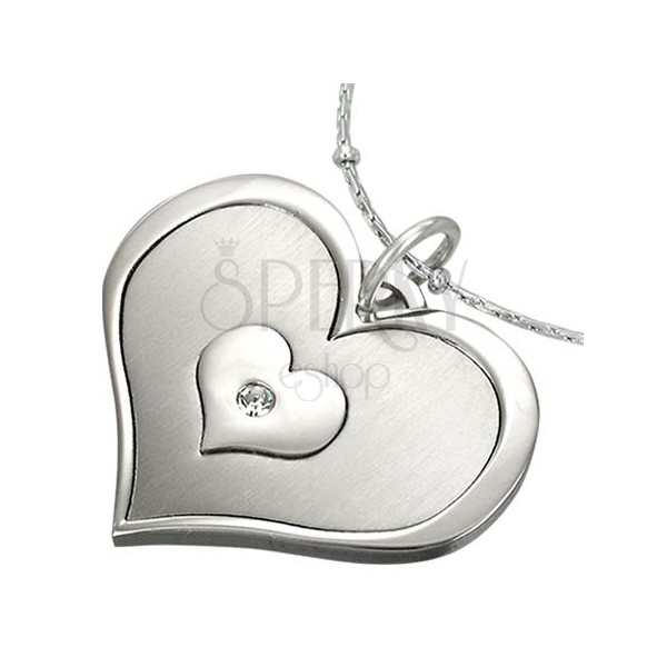 Stainless steel penant - triple heart with zircon