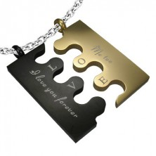 Couple pendant made of steel - PUZZLE