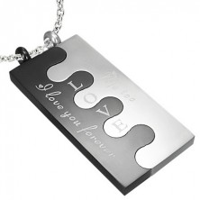 Stainless steel Puzzle pendant, silver-black