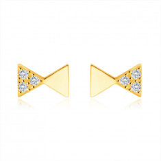 585 Yellow gold diamond earrings – gentlemen´s bow tie motif, round brilliants