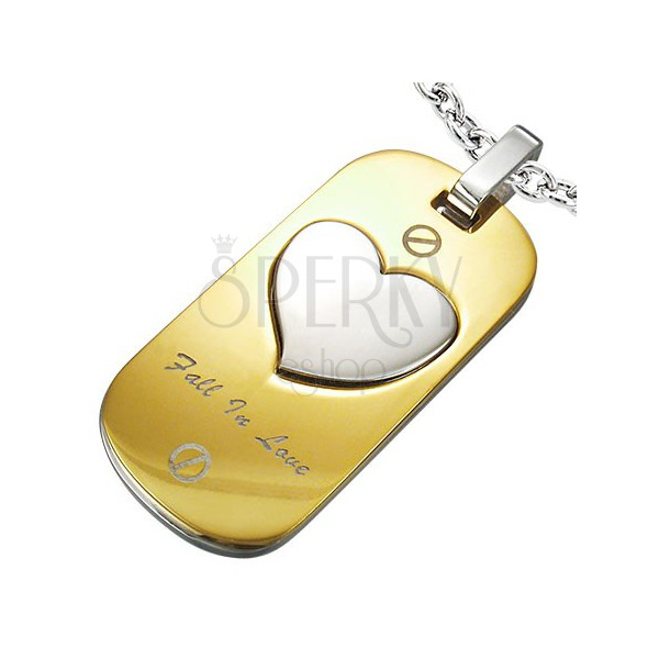 Stainless steel pendant - Fall In Love tag