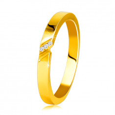 14K Yellow gold diamond band – ring with a fine notch, clear brilliants