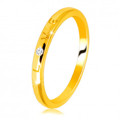"14K Yellow gold diamond band – writing ""LOVE"" with a brilliant, smooth surface, 1,5 mm"