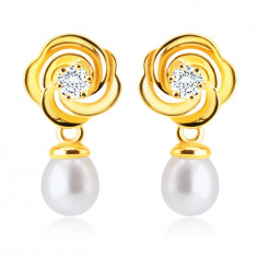14K Yellow gold diamond earrings – brilliant, flower with petals, white fresh-water pearl