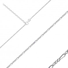 925 Silver chain – Figaro pattern, bevelled shiny edges, 1,6 mm