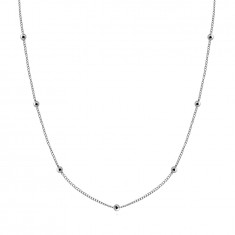 925 Silver necklace – chain made of round links, glossy beads