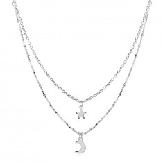 925 Silver necklace – double chain, star and crescent pendant