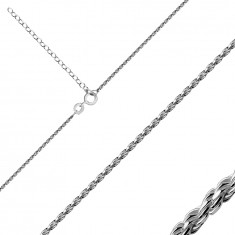925 Silver chain – spirally densely connected shiny links, spring ring