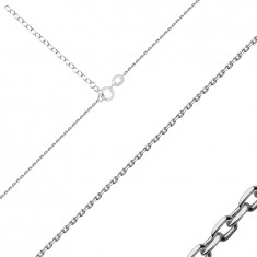 925 Silver chain – shiny oval links, spring ring, 1,1 mm