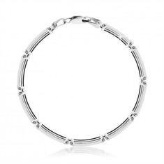 925 Silver bracelet – rectangle links made of thin strips, lobster claw