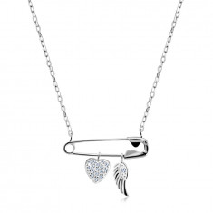925 Silver necklace – safety pin with pendants, heart with zircons, angel wing