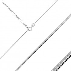 Thin 925 silver chain – smooth snake skin motif, width 1 mm