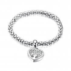 Stretchy steel bracelet - tree of life, round clear zircons, silver colour
