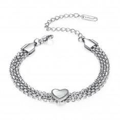 Steel bracelet, silver colour - slim chain, smooth balls, pendant heart, rainbow reflections