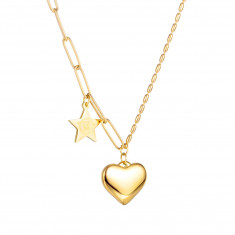 Necklace from stainless steel, gold colour - pendants heart and star, oval parts