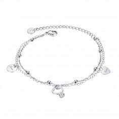 """Steel bracelet, silver colour - doubled chain, pendants, shiny balls, """"Love"""""""