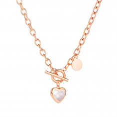 Necklace from steel, copper colour - oval rings, pendant heart, mother-of-pearl, rainbow reflection