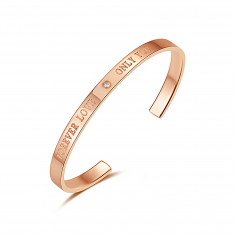 """Firm bracelet from steel - """"FOREVER LOVE ONLY YOU"""" zircon, copper colour"""